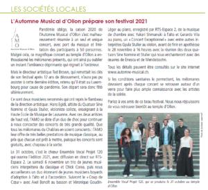 Image de Page 16 Boyard 77 : l'Automne Musical d'Ollon prépare son festival 2021